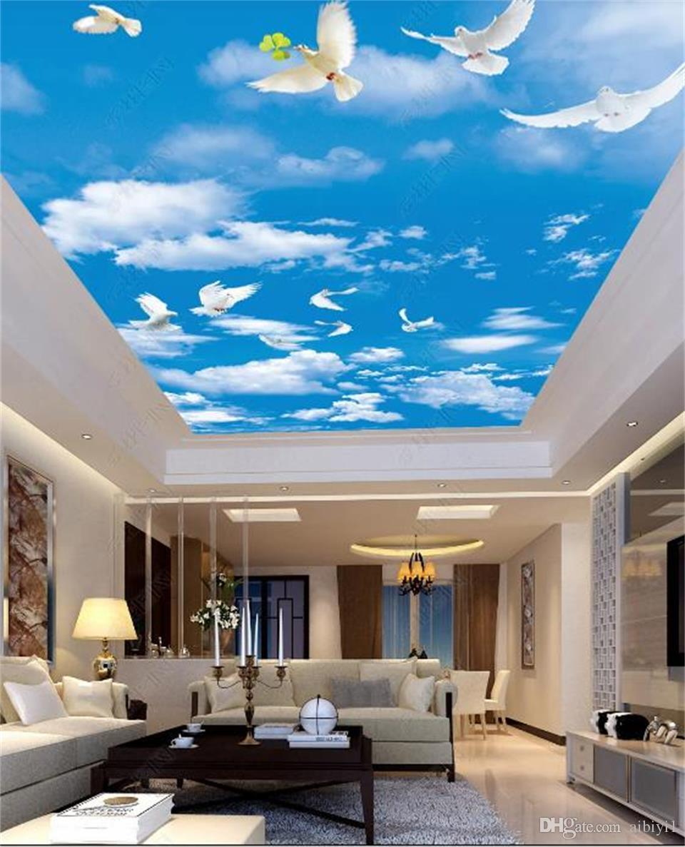 3d Wallpaper Custom Size Blue Sky White Cloud Fly Dove Mural Living Room Bed Room Roof Ceiling 3d Wallpaper Ceiling Large Starry Sky Mural