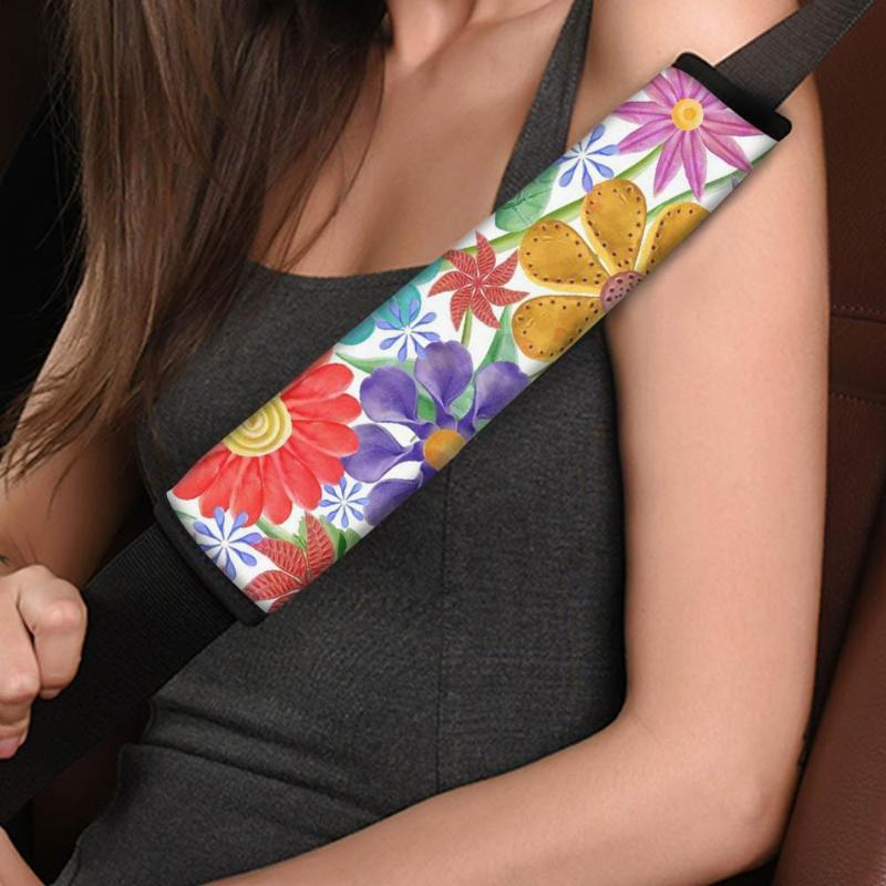 INSTANTARTS Colorful Stylish Tropical Flower Car Seat Belt Covers for Women Comfortable Seat Belt Sets Covers Safety Cover