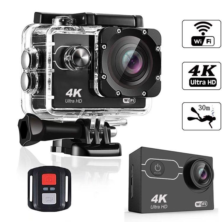 """울트라 HD 4K / 2 """"화면 1080P 16MP 원격 제어 스포츠 와이파이 카메라 극단적 인 HD 헬멧 캠코더 자동차 캠 방수 작업 카메라 30m를 초당 30 프레임"""
