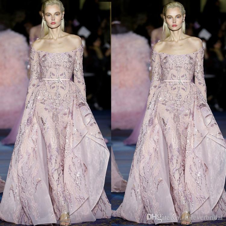 2019 Light Pink Elie Saab Over Skirts Evening Dresses Off Shoulder Lace Applique Tulle Formal Pageant Party Gowns