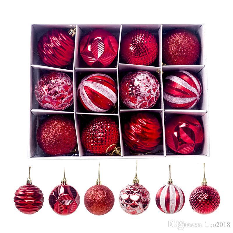 حار أسلوب عيد الميلاد الكرة 6cm وشجرة عيد الميلاد زخرفة الكرة 12 صناديق عرض الكرة الحلي شجرة عيد الميلاد