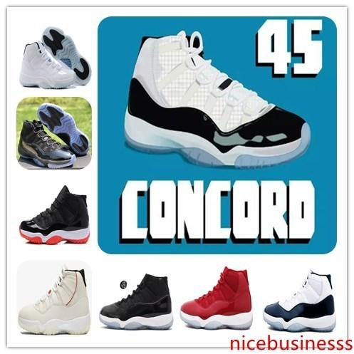 With 11 11s concord 45 Bred XI Platinum Tint Basketball Shoes Gym Red Prom Night Win Like 96 82 Mens&Womens Sports Sneakers 378037-100