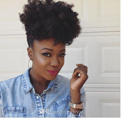 Courte bouffée afro crépus bouclés queue de cheval clip extension de cheveux dans les cheveux remy afro cordon de serrage postiche queue de cheval pour les femmes noires