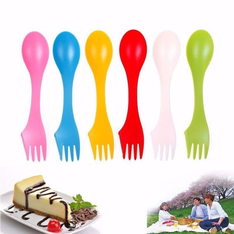 6pcs/set 3 In 1 Spoon Fork Knife Outdoor Camping Hiking Utensils Plastic Spork Combo Travel Tableware