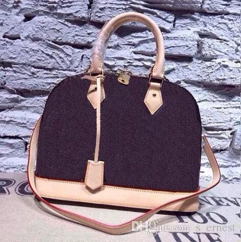 حقيبة يد نسائية alma bb shell bag أعلى حقيبة لطيف Damier Ebene حقيبة كروسبودي براءات الاختراع والجلود
