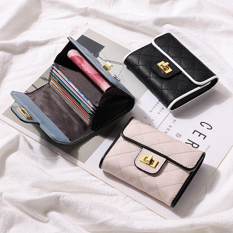 Caviar Femmes Titulaire de la Carte En Cuir Véritable Designer Vachette Dames Credit ID Banque Carte Cas Argent Pièce De Monnaie Poches Poche Court Portefeuille