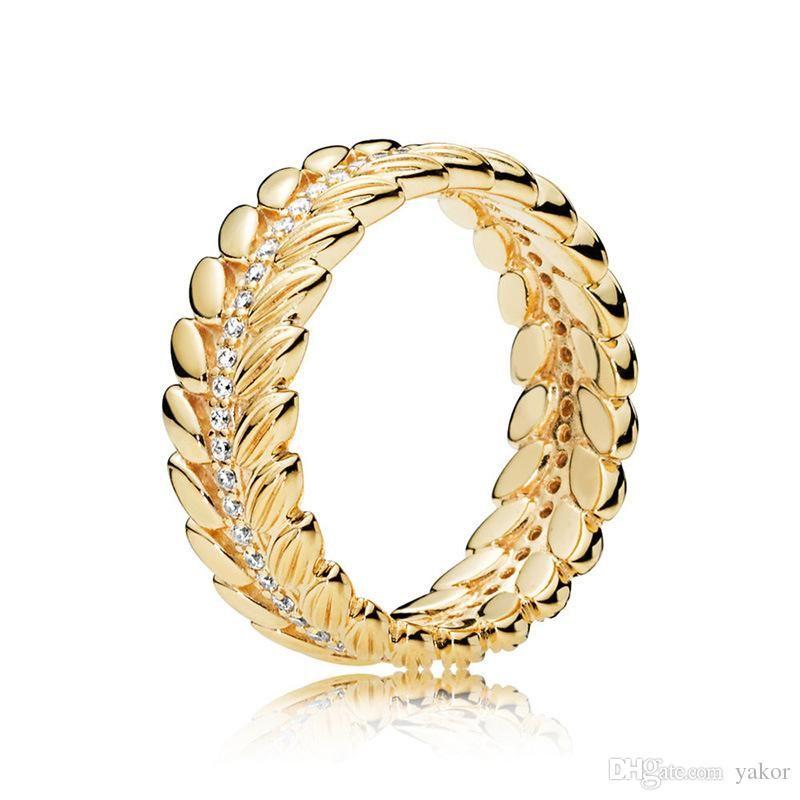 chegada ouro amarelo 18K ANEL engraxar os grãos com caixa original para Pandora real 925 presente de casamento Set