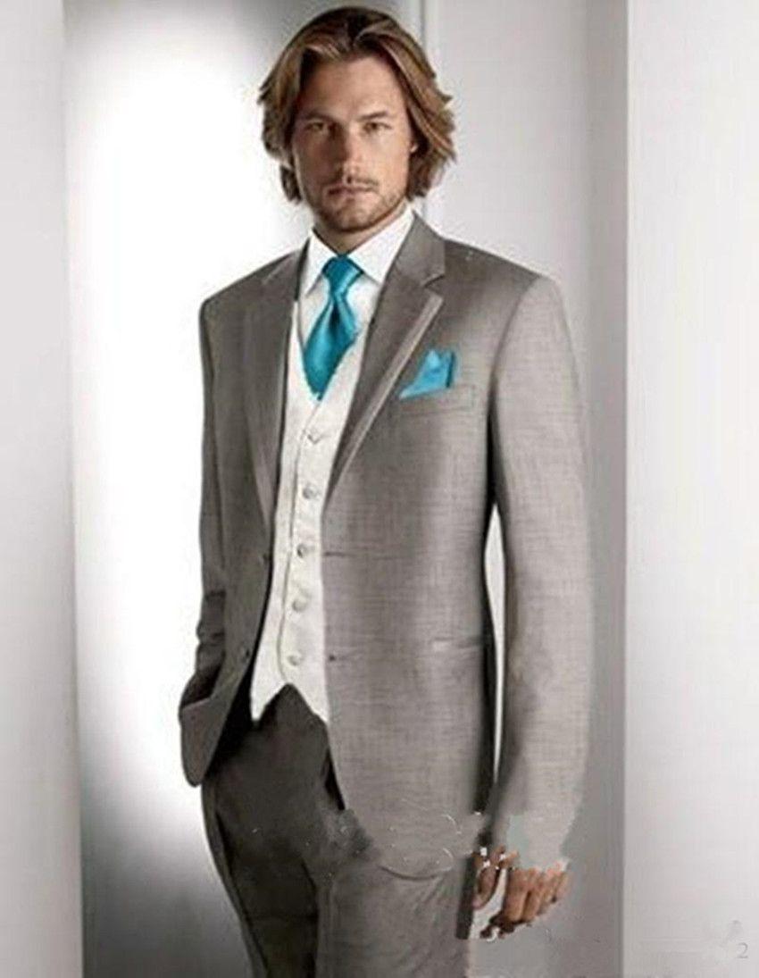 New Latest Design Light Grey Groom Tuxedos Notch Lapel Groomsmen Best Man Suits Mens Wedding Blazer Suits (Jacket+Pants+Vest+Tie) 4099