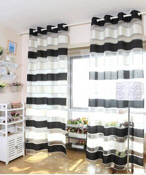 deco white and black stripe tulle/yarn/voile blind curtains for living room,window sheer panels door partition curtain
