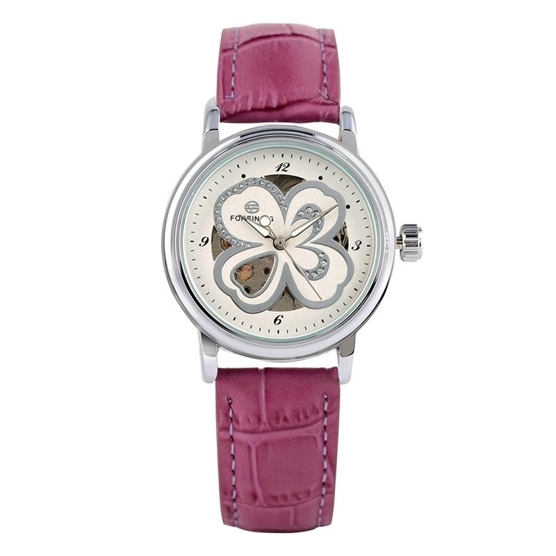 Stylish Automatic Mechanical Watch for Women Chic Flower Pattern Dial Watches for Lady Soft Leather Band Luminous Hands Wristwatch