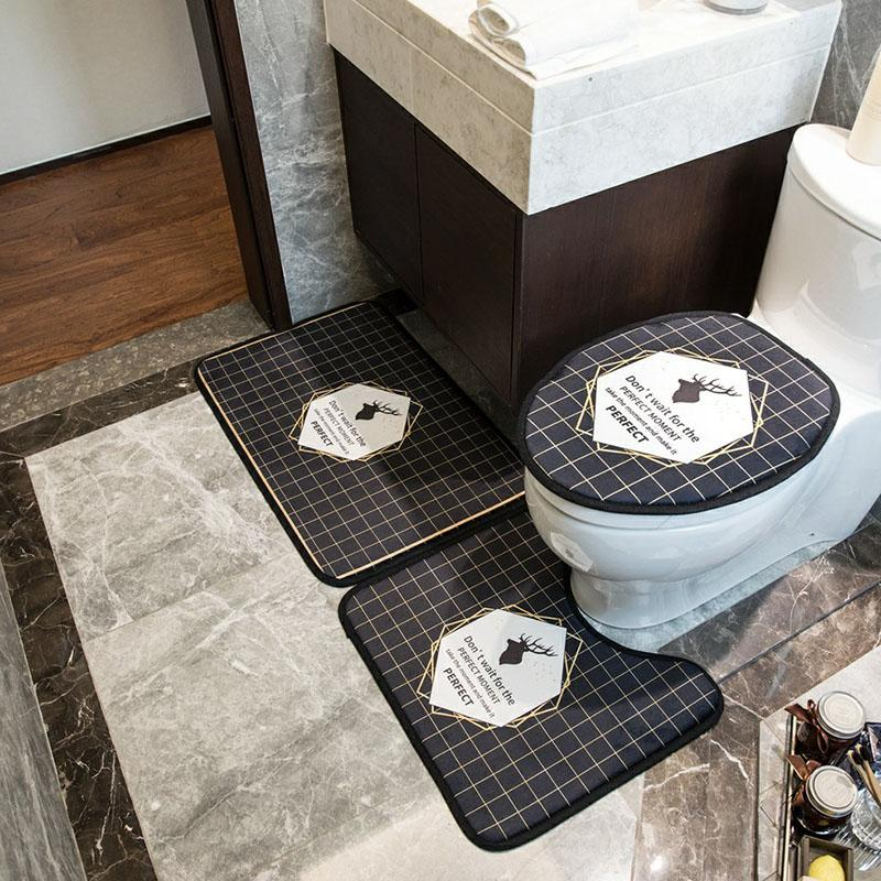 Classic Style Hotel Toilet Seat Covers Fashion Printed Black Non Slip Bath Mat Personality Plaid Overcoat Toilet Case