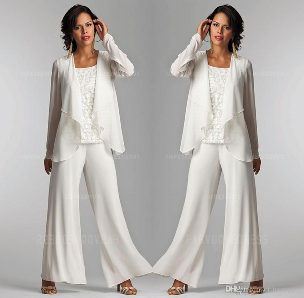 2019 Fildişi Beyaz Şifon Dantel Lady Anne Pantolon Ceket Ile Gelin Damat Anne Takım Elbise Zarif Kadın Parti Elbiseler Pantolon