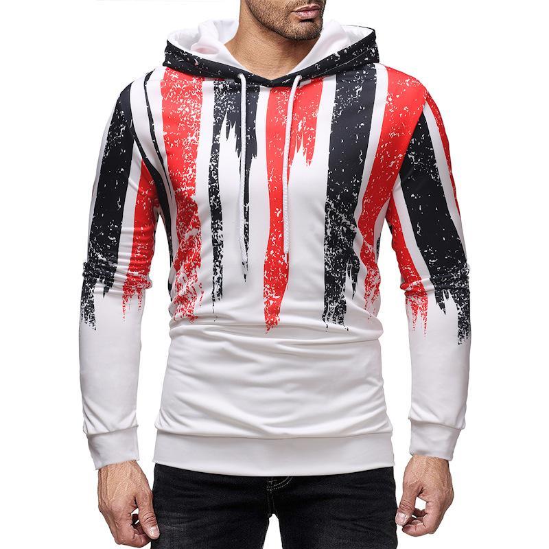 rayures rouges noir Hommes capuche Homme Automne 2019 Hip Hop Streetwear hommes Sweatshirts Sweat à capuche pour hommes NZ30