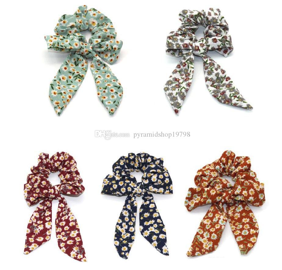 INS Summer Sweet Floral Hair Scrunchies Bow Women Accessories Hair Bands Ties Scrunchie Ponytail Holder Rubber Rope Decoration Big Long Bow