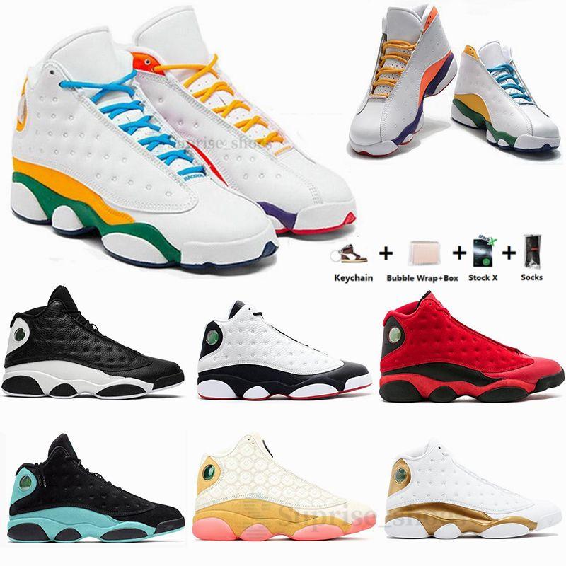 مع صندوق الحلي Jumpman 13 13S ملعب عكسي ولديك لعبة جزيرة خضراء تحديد لحظات الرجال لكرة السلة الأحذية الرياضية حذاء رياضة حجم 13