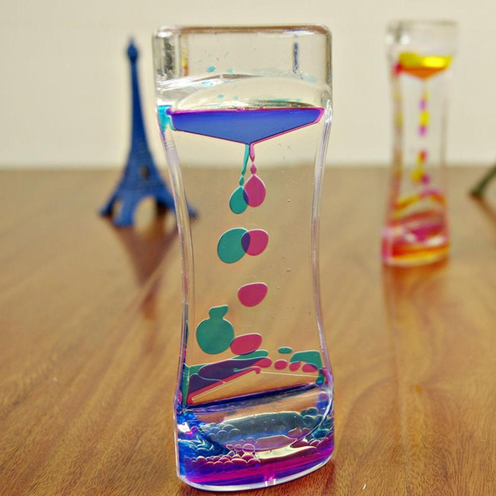 reloj de arena turística líquido flotante de movimiento de las burbujas de aceite temporizador de reloj de arena reloj de arena reloj de la decoración del hogar reloj de arena de regalo de cumpleaños