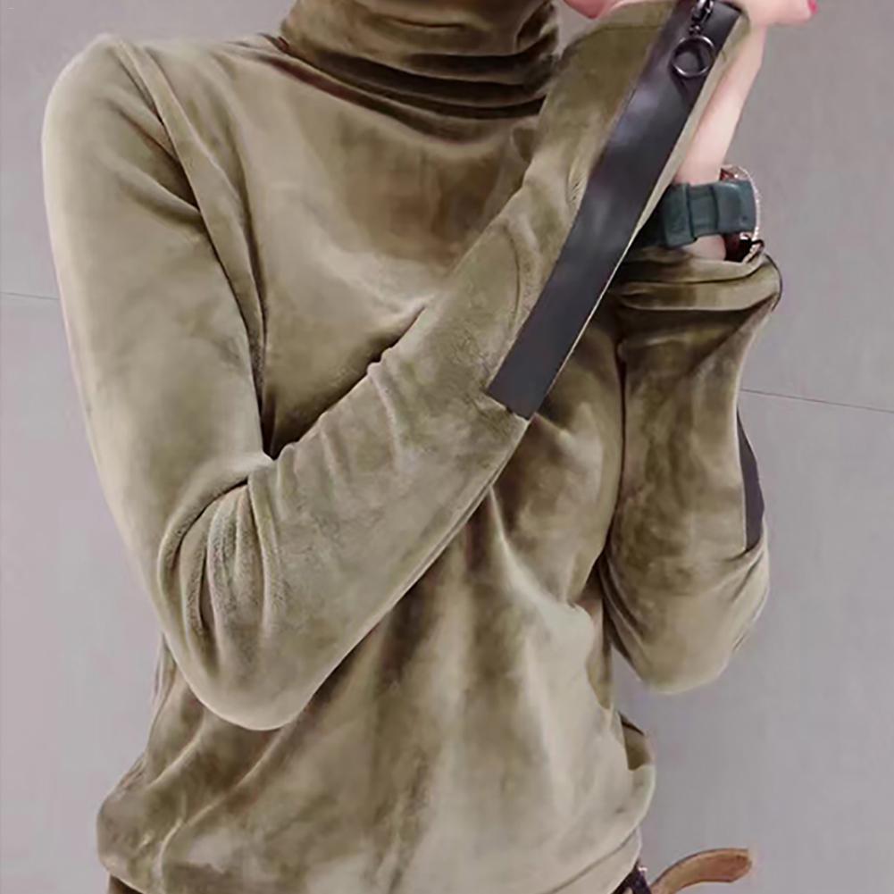2018 Mujer Terciopelo Suéteres de cuello alto con cuello alto Suéter de manga larga Nueva moda Otoño coreano Jersey de manga larga