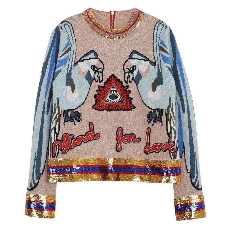 봄 가을 활주로 자수 스팽글 뜨개질 스웨터 패션 앵무새 자카드 긴 소매 O 넥 여성 풀오버 점퍼