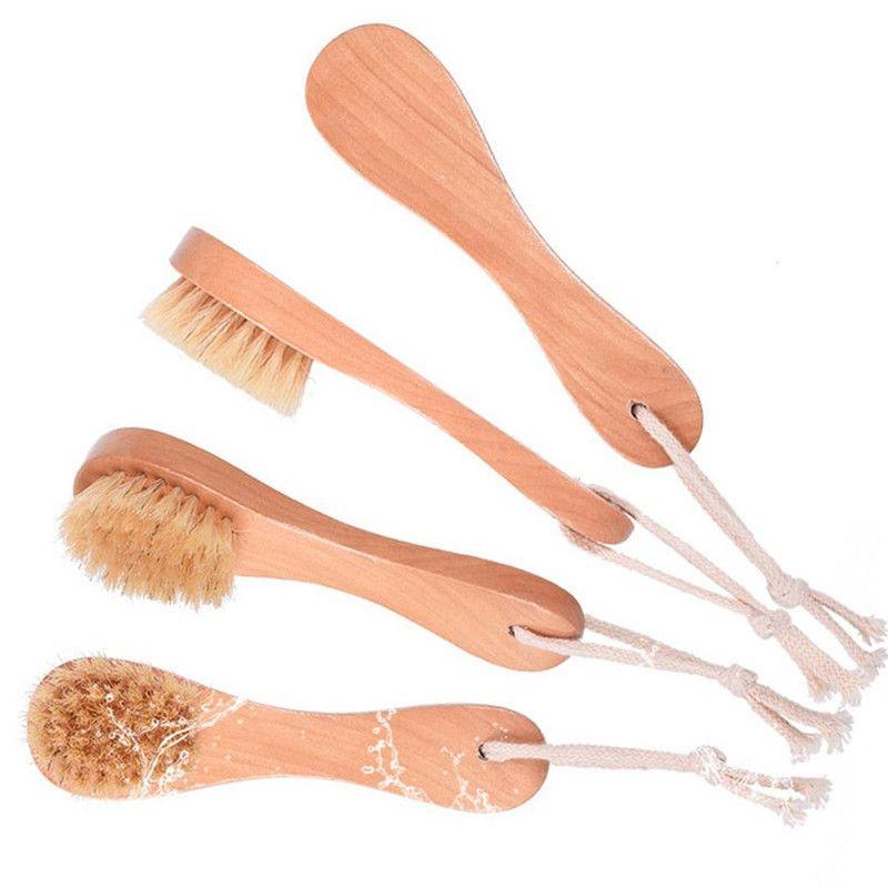 Wildschweinborsten-Gesichtsbürsten Rasierpinsel Holzgriff-Gesichtsreinigungsbürste Hautpflege-Reinigungswerkzeuge T0422