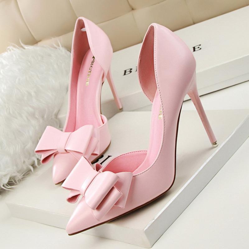 مضخات أحذية الكعوب المرأة الصلبة اللون الكعوب العالية الضحلة الفم الفراشة عقدة تو الجانب الجوف خارج الحلو الجنية أنثى رقيقة حزب