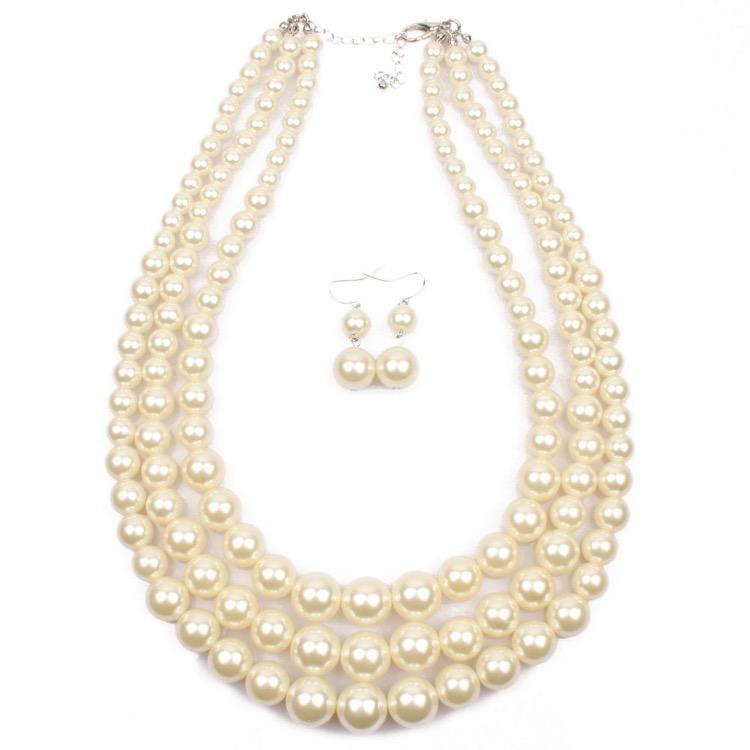 Handgemachte Perlen Halskette mit Ohrringen Set Mode Übertriebene Damen String Künstliche Perle Clavicle Multilayer-Ketten 8 Farben Großhandel