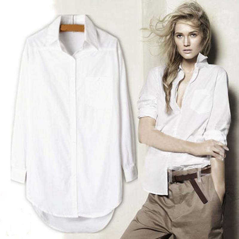 Elegante camisa longa blusa branca mulheres Ladies Escritório 100% algodão Camisas Casual Blusa de algodão Moda Blusas Femininas 0,24 Y200103