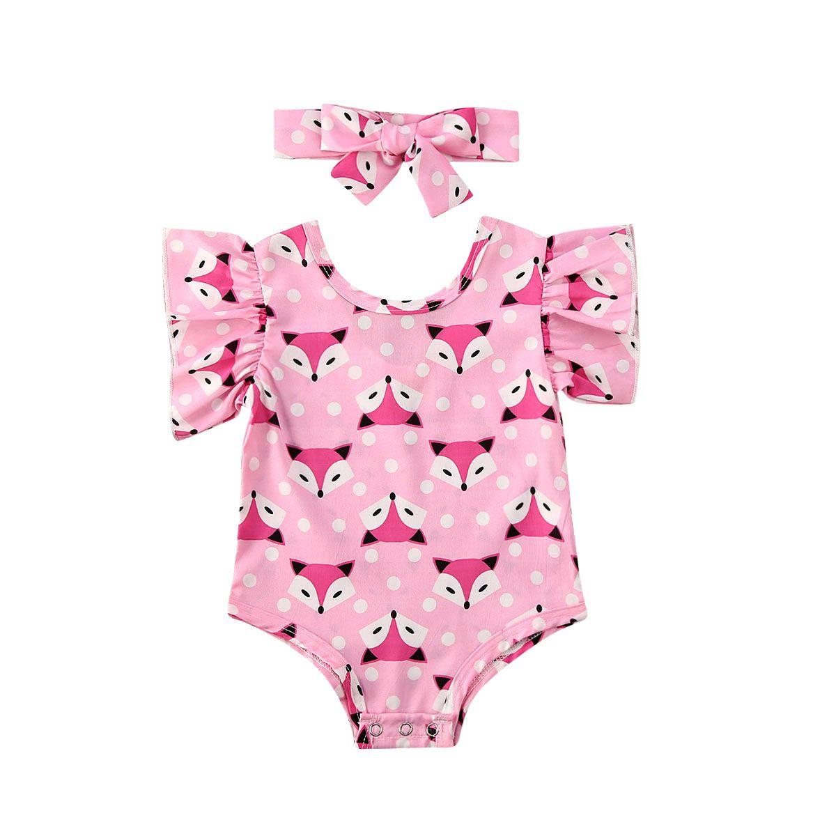Été Nouveau-né bébé Enfants Fox Tops manches courtes Jumpsuit Bodysuit Bandeau Outfit Vêtements Cartoon