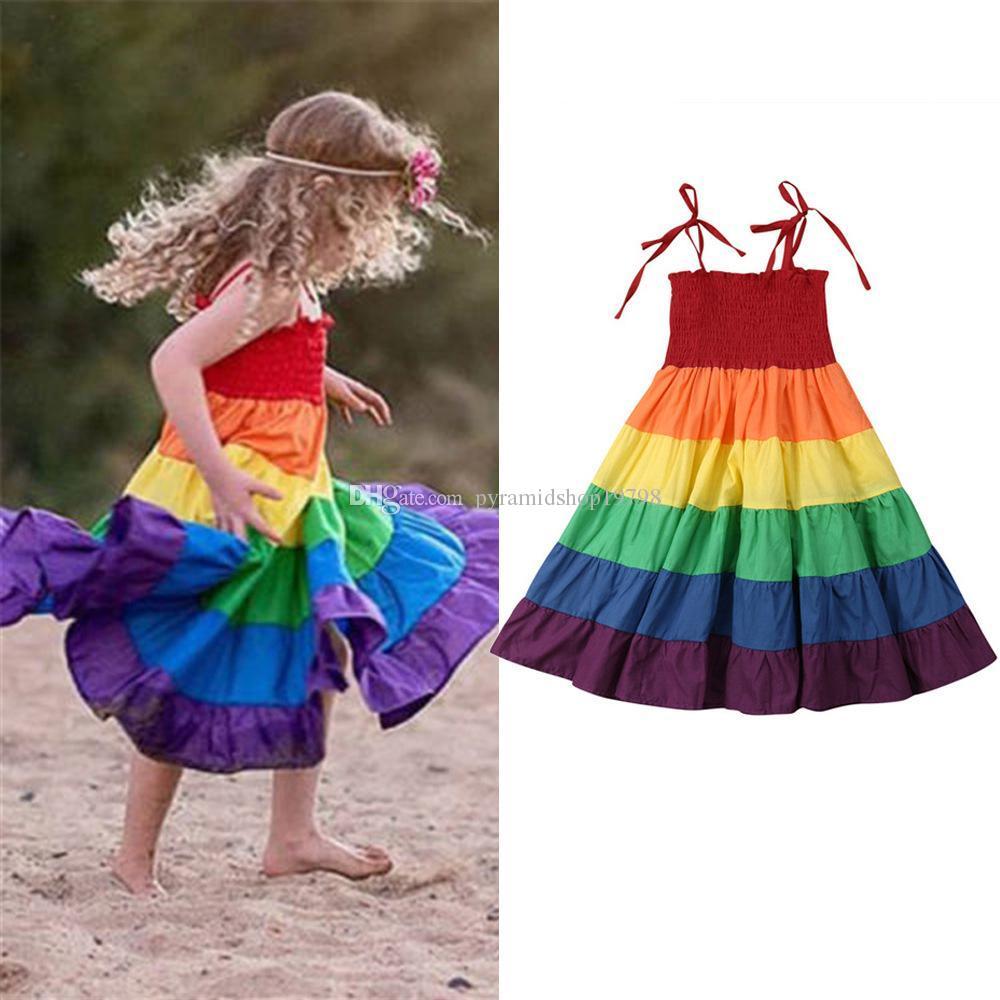 2019 été nouvelles robes de princesse manches enfants filles arc-en-robe Stripe enfants