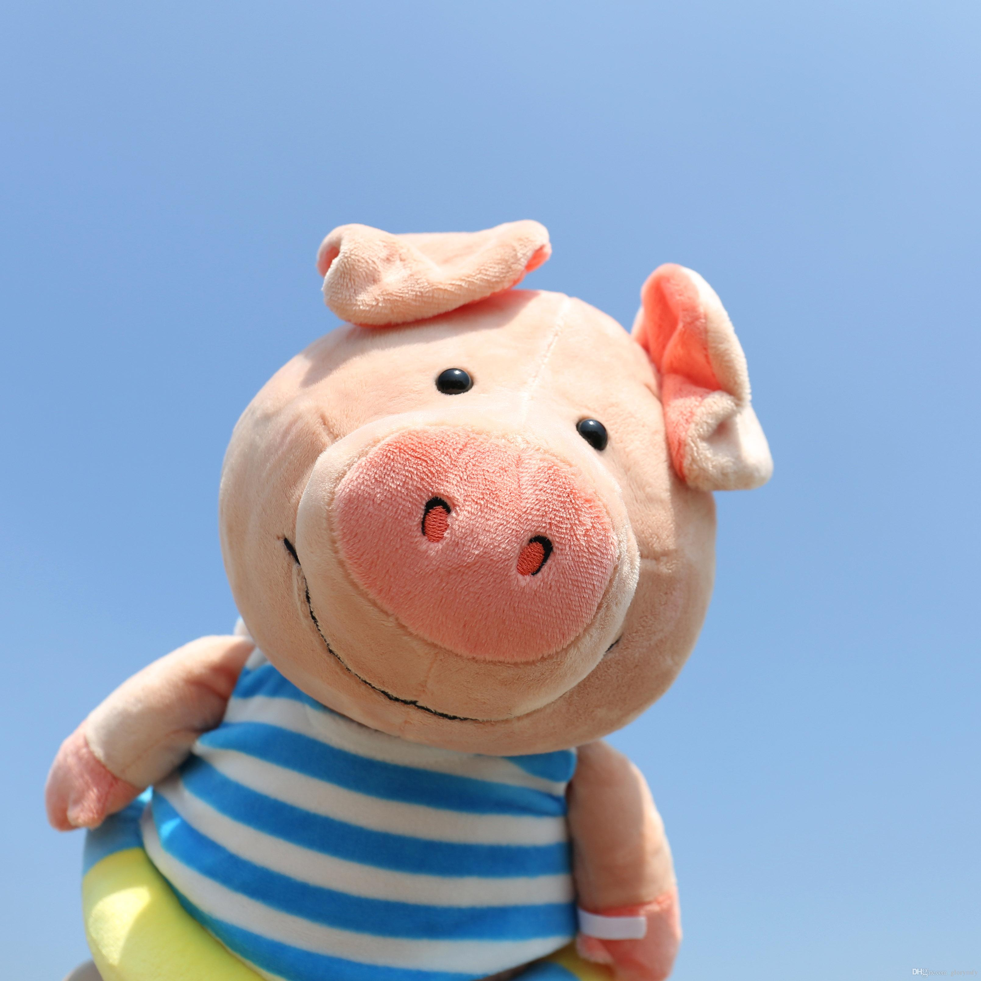 2018 Yeni Piglet yüzmek daire Dolması Hayvanlar komik domuz bebek bebek yumuşak bebek konfor peluş oyuncaklar çocuk doğum günü hediyeleri süslemeleri ucuz oyuncaklar