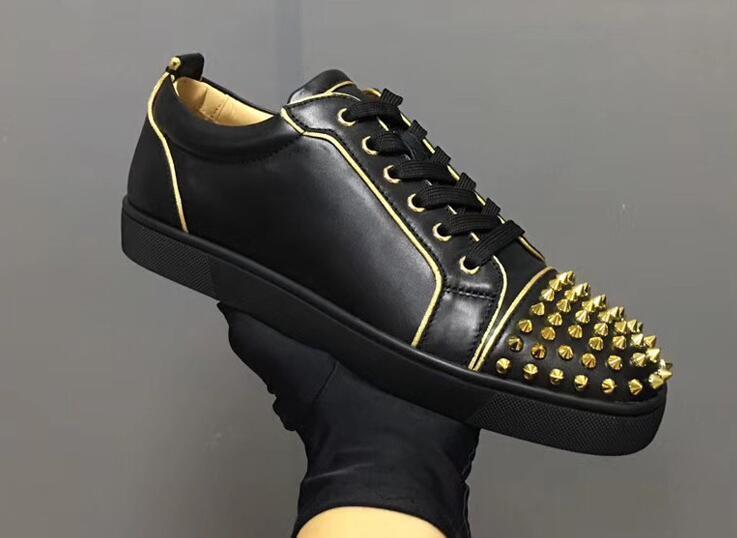 Haute qualité supérieure d'or Spikes Aurelien Sneakers Flat Femmes, Hommes Chaussures Bas Rouge Qualité Parfait Casual formateur extérieur parfait GiftL26