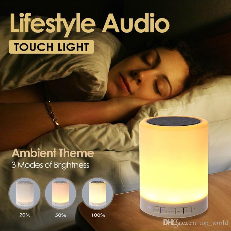 밤 빛 블루투스 스피커 휴대용 무선 스피커 터치 컨트롤 컬러 LED 침대 옆 테이블 램프
