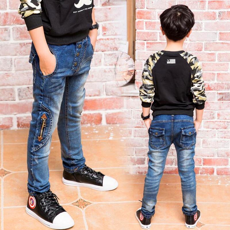 Nuovi Bambini pantaloni del denim Big Boys jeans sottili jeans dei ragazzi, bambini Zipper Jeans, per Age 3 4 5 6 7 8 9 10 11 12 13 14 Anno Età