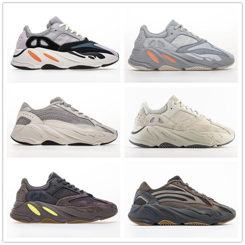 700 V2 statico 3M Mauve corridore dell'onda inerzia Salt Geode con la scatola scarpe da corsa delle donne degli uomini Kanye West Gray Solid Triple Sport Sneakers