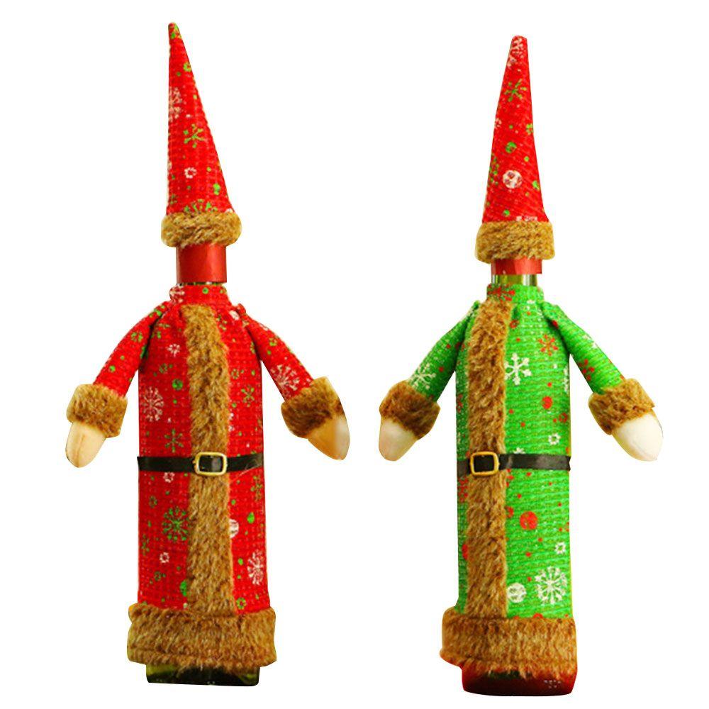 Vinho Tinto Natal Garrafa de pano Tampa Xmas Vestido Hat Suit Tabela Decor Natal
