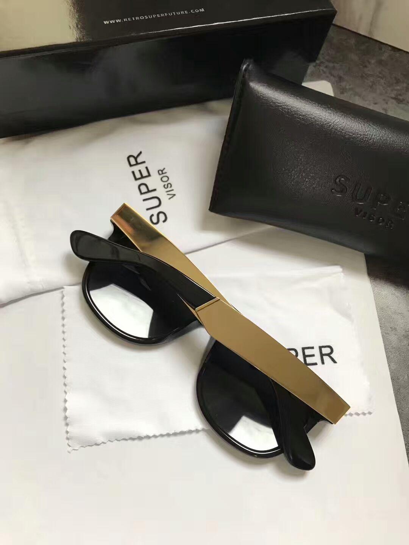 Großhandel Sonnenbrillen Super By Retrosuperfuture Francis Flaches Top Schwarzes Gold Neue Modedesigner Sonnenbrillen Neu Mit Etui Von Jenlsky, $55.84