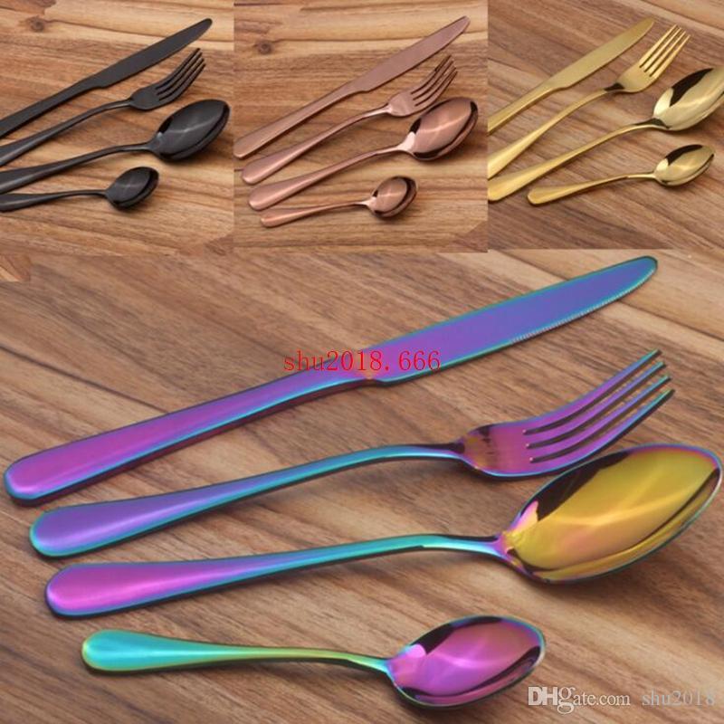 5 цвет улучшенный золотой набор посуды ложка вилка нож набор из нержавеющей стали посуда набор