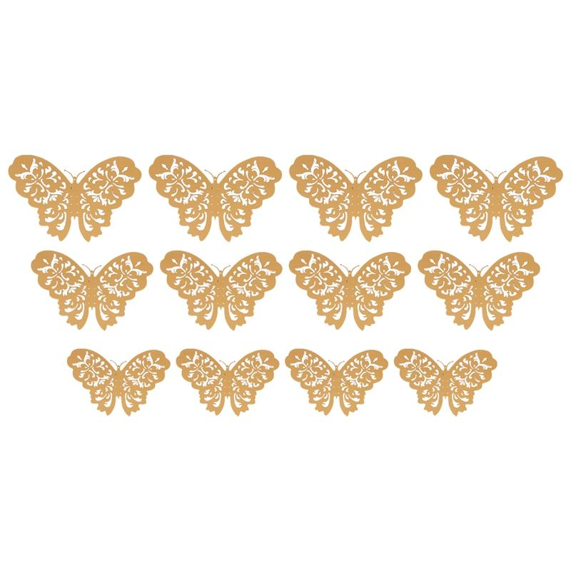 12 Pcs/Set 3D Wall Stickers Butterfly Hollow Paper 3 Sizes for Fridge on Party the Festival