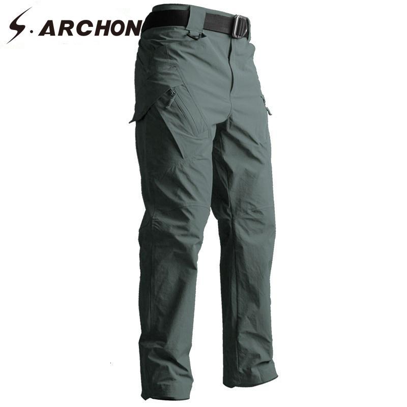 S.ARCHON IX9 Pantalon de style tactique automne armée militaire SWAT combat cargo Pantalons Hommes Casual Quick Dry 3 couleurs de TrousersLY191112 solides