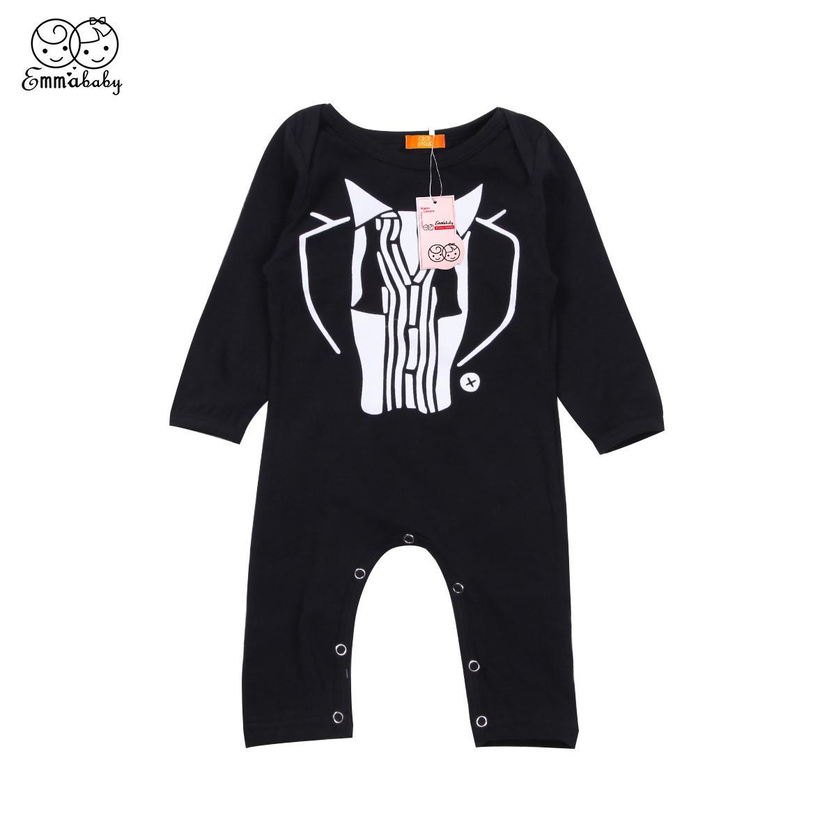 Bambino appena nato Ragazzi Gentleman modello pagliaccetto O-Collo Button coperto maniche lunghe pagliaccetto tuta Outfits Abbigliamento