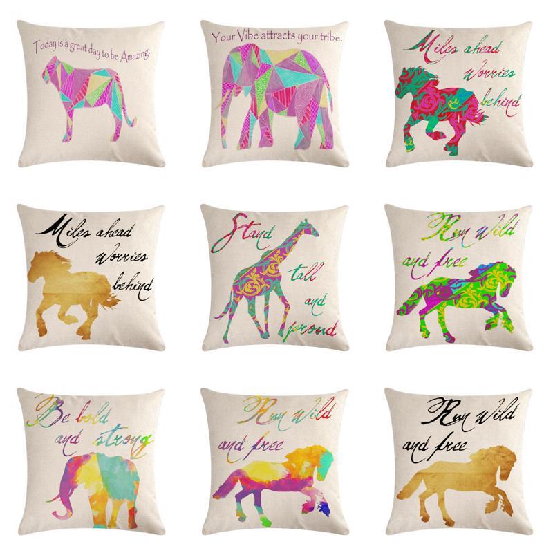 Farbe Tier Pferd Kissenbezug Elefant Giraffe Baumwolle Leinen Pillowcase Startseite Dekorative Kissen Abdeckung für Sofa Auto Cojines
