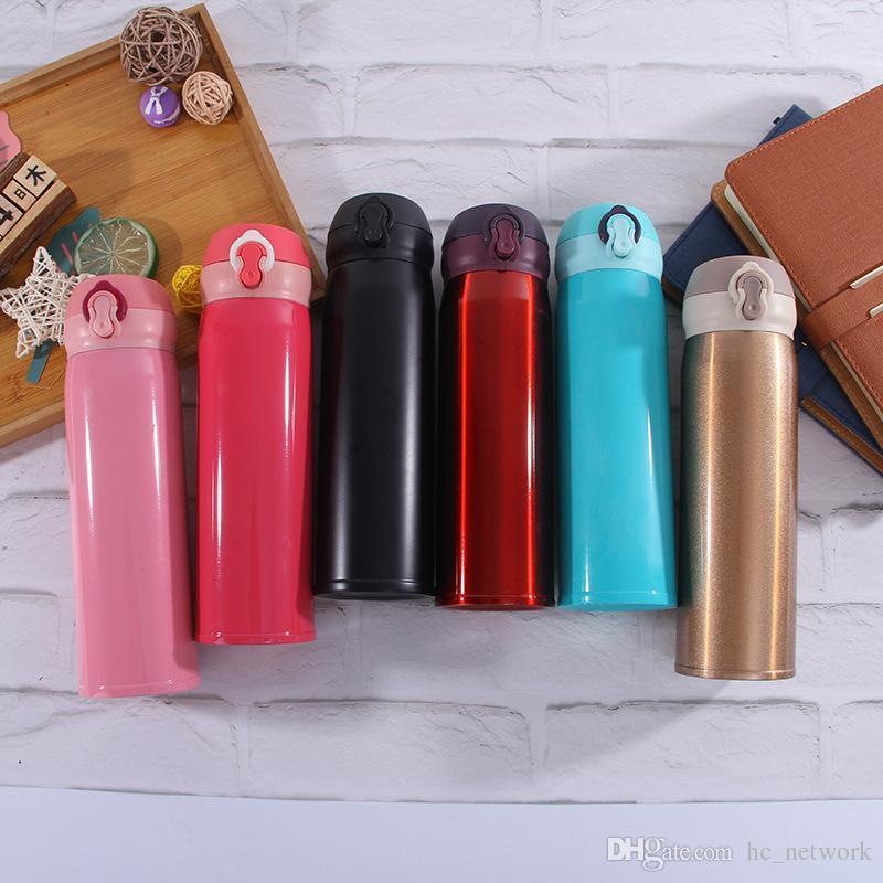 500ml Bouteille Portable Thermos Bouteille d'eau en acier inoxydable à vide Tasse en acier inoxydable Flacons isolé Coupe de haute qualité