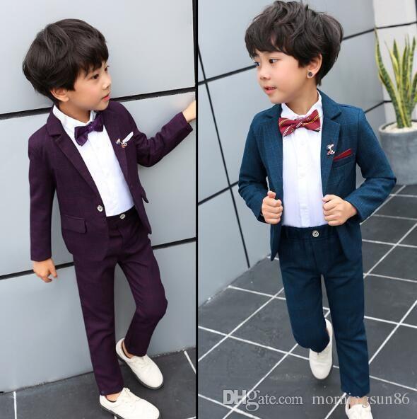 Sıcak satış Çocuk giyim ilkbahar ve sonbahar bir çocuğun takım elbise Kore versiyonu yakışıklı denetleyici yeni yıl suit üç parçalı set Ceket Gömlek Pant