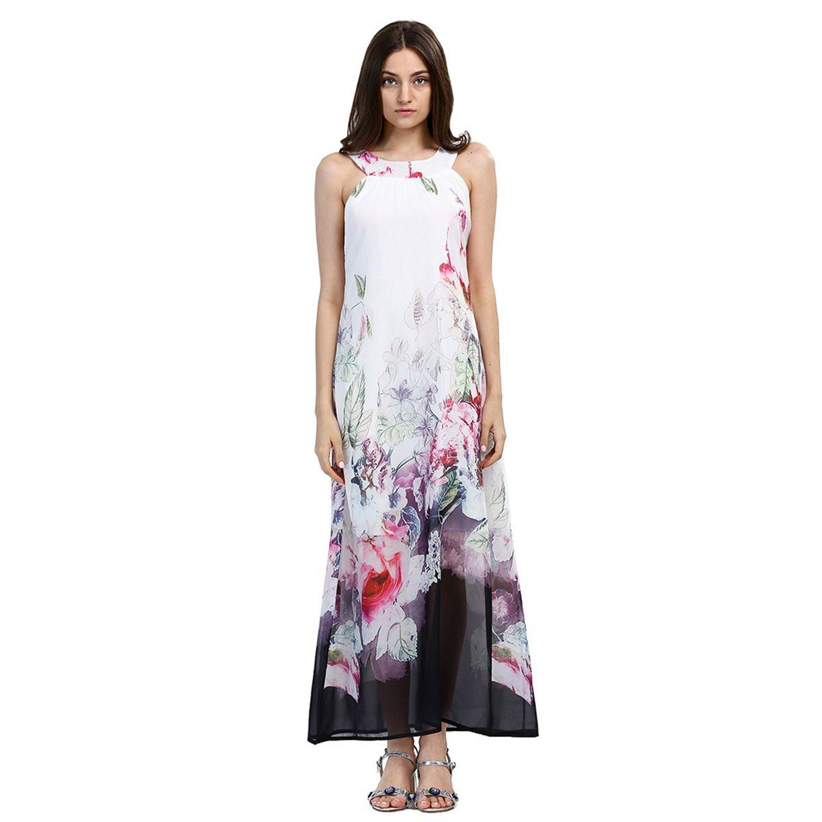 2019 Beach Boho Maxi Dresses Print Floral Plus Size Bar Party White Long Dress Sleeveless Summer Sundress Vestidos Beachwear Tunics Robe New