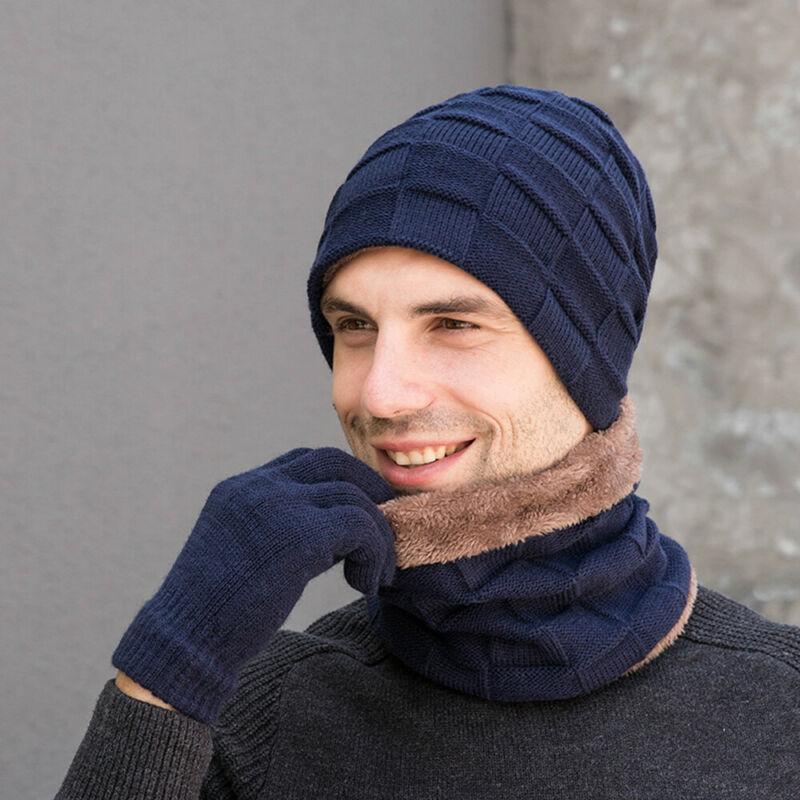 الرجل للمرأة وشاح الشتاء الدافئة 3 قطعة مجموعة محبوك قبعة صغيرة قبعة وشاح لمس قفازات / BY