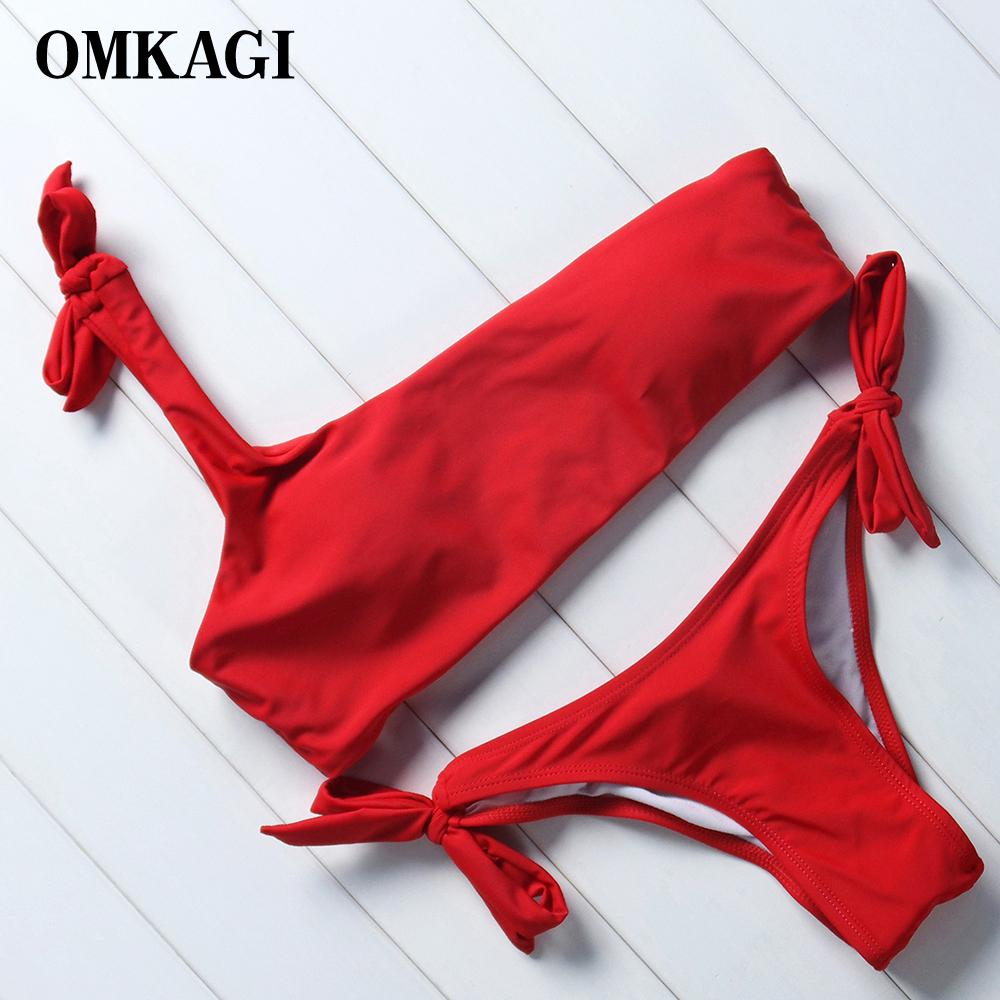 Omkagi رفع البيكينيات ملابس النساء ملابس السباحة ضمادة biquinis الإناث البيكينيات مجموعة المايوه بحر Y19072601