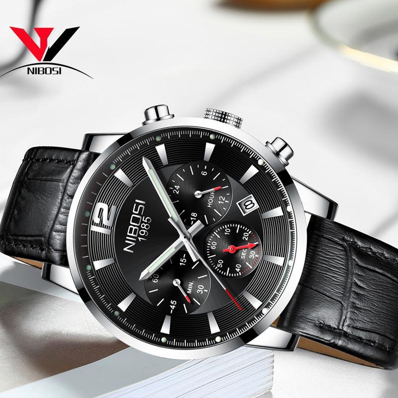Venta al por mayor 2019 Nuevo Diseño Marca de Moda Relojes Para Hombre de Cuero Deporte Fecha Cronógrafo Reloj de Cuarzo Hombre Regalos Reloj Relogio masculino