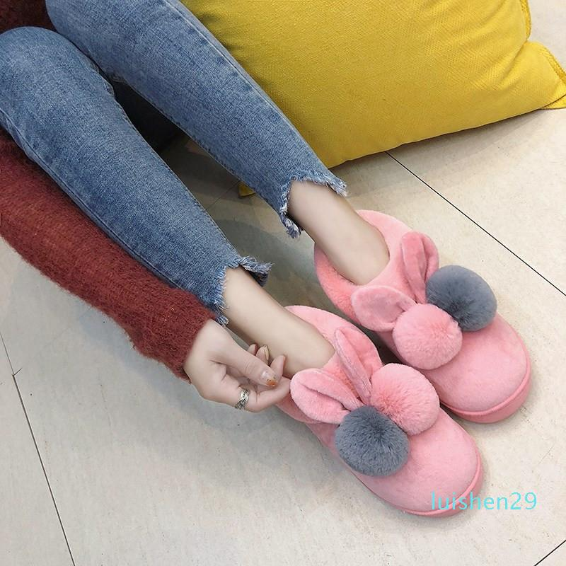 Winter Slippers Women Non-slip Warm Home Shoes Cartoon Ears Flat Fur Home Slippers Soft Sole Warm Womens Houseshoes l29