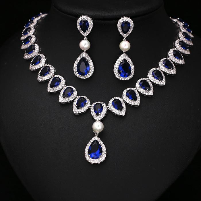 Fashion Royal Blue Arrow Heart With Square Shape CZ Crystal and Pearl Jewelry Sets For Wedding Necklace earring set JC352649S