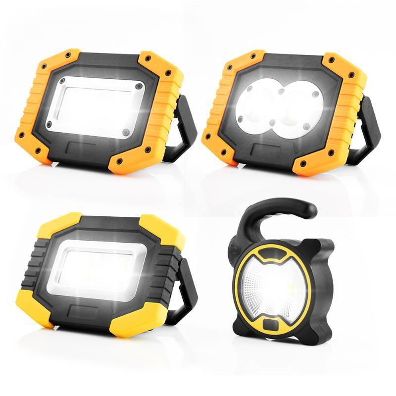 Levou Spotlight portátil Super Bright Led Light Work recarregável para Outdoor camping lâmpada por 18.650 / Bateria