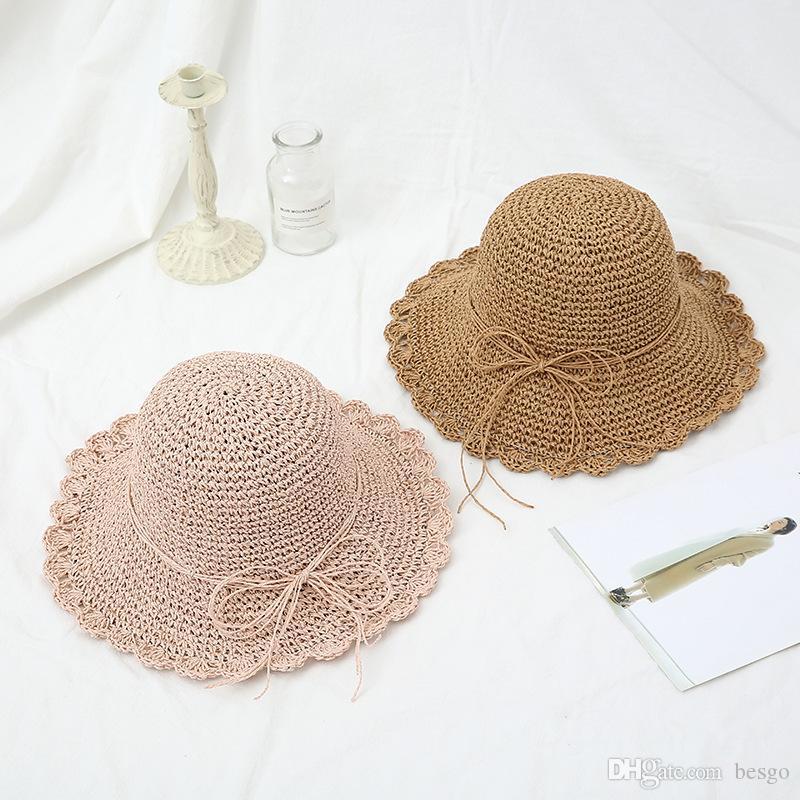 Mehrfarben-faltbarer Strohhut weiblich Sommer-Strand-Sonnenhut, Sonnenschutz Sonnenhut Fischer-Hut koreanische mit handgewebten VT0133